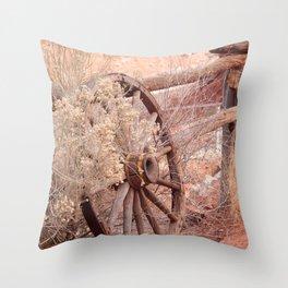 Old Western Wheel Throw Pillow