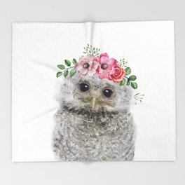 Baby Owl with Flower Crown Throw Blanket