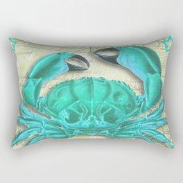 Turquoise Crab on Vintage Paper Rectangular Pillow