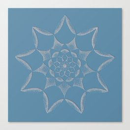 Dot Mandala Dark Blue - 3D Pointilism Canvas Print