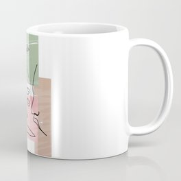 One continuous single drawn line art doodle curl loving kissing couple, kiss, love, hugs Coffee Mug