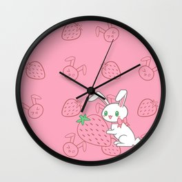 Strawberry Bunny Wall Clock