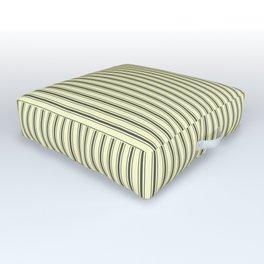 Mattress Ticking Narrow Striped Pattern in Dark Black and Cream Outdoor Floor Cushion