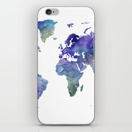 Watercolor World Map Silhouette iPhone Skin