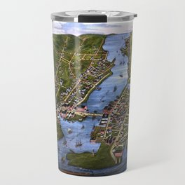 MYSTIC RIVER CONNECTICUT city old map Father Day art print Travel Mug
