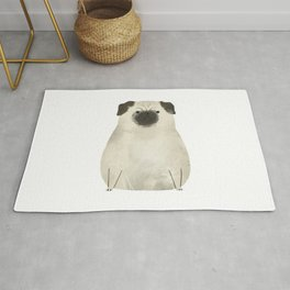 Grumpy pug cute ilustration Rug