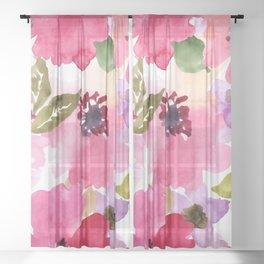 Watercolor Flowers Pink Fuchsia Sheer Curtain
