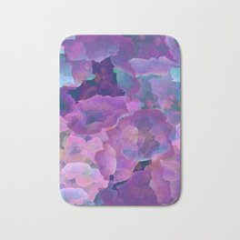 Purple, teal and blue abstract watercolor clouds Bath Mat