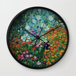 Flower Garden Riot of Colors by Gustav Klimt Wall Clock