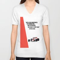 senna V-neck T-shirts featuring Senna Inspriation by MDBDESIGN.