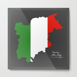 Trentino-Alto Adige map with Italian national flag illustration Metal Print