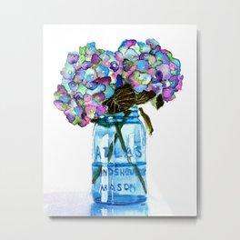 Watercolor Hydrangeas in Blue Mason Jar Metal Print