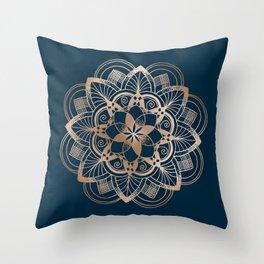 Lotus metal mandala on blue Throw Pillow