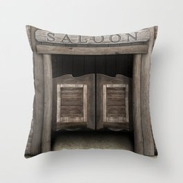Wild West Saloon with Rustic Wood Doors Throw Pillow