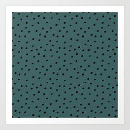 Mudcloth Polka Dots in Evergreen + Black Art Print