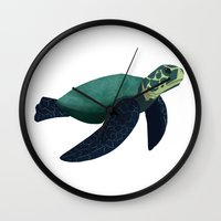 sea turtle Wall Clocks featuring Turtle by Imaginative Ink