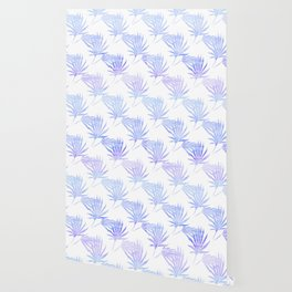 Palmetto Leaf Fronds Print Blue Wallpaper