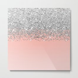 Girly Chic Silver Confetti Pink Gradient Ombre Metal Print