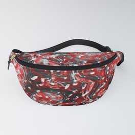 Red and Black Abstract Liquid Gore Pattern Fanny Pack
