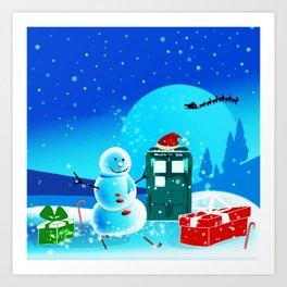 Tardis With Snow Ball Gift Christmas Art Print