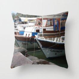 Caunos Riverboats at Dalyan Throw Pillow