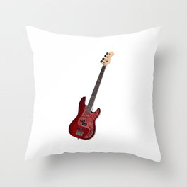 Bass guitar in cherry-colored wood on a black background Throw Pillow