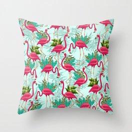 Pink Flamingos Exotic Birds Throw Pillow