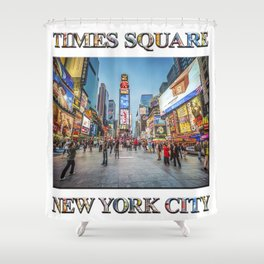 Times Square Sparkle (with typography) Shower Curtain