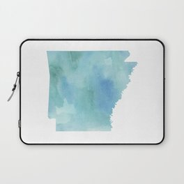 Watercolor State Map - Arkansas AR blue greens Laptop Sleeve