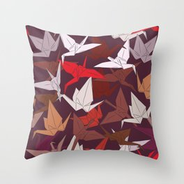 Japanese Origami paper cranes symbol of happiness, luck and longevity, sketch Throw Pillow