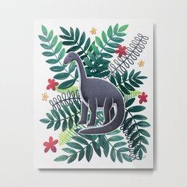 Dinosaur & Leaves - Tropical Metal Print