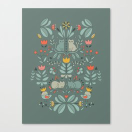 Swedish Folk Cats Canvas Print