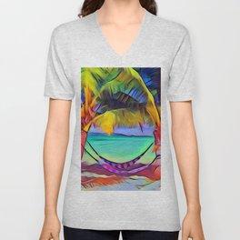 Beach with Hammock Unisex V-Neck
