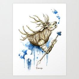 Deer - Jack of Clubs Art Print
