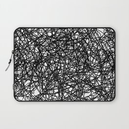 Angry Scribbles - Black and white, abstract, black ink scribbles pattern Laptop Sleeve
