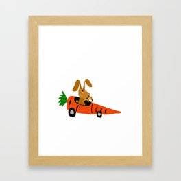 Funny Brown Bunny Rabbit Driving Carrot Car Original Artwork Framed Art Print