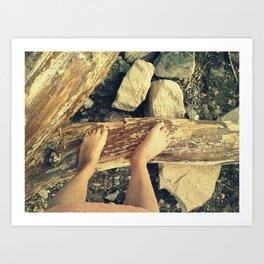 Feet on Wood Art Print