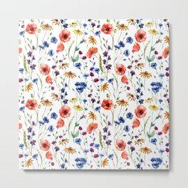 Wildflowers Pattern Metal Print