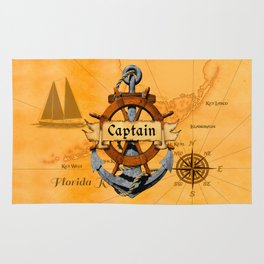 Captain Anchor And Ship Helm Rug