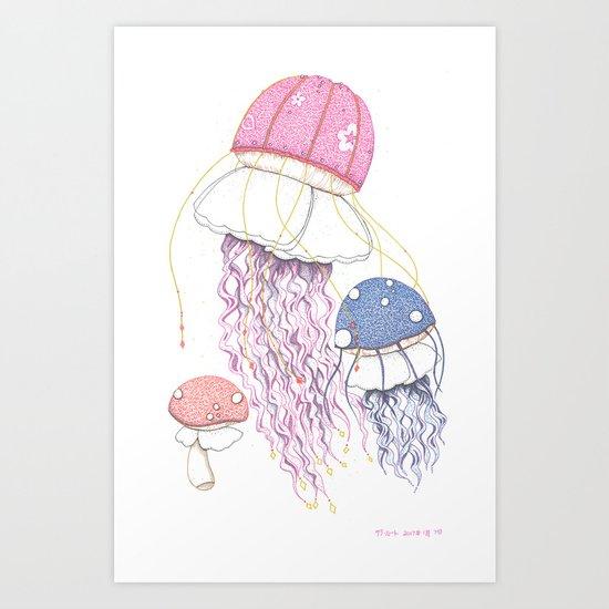 Jelly Shrooms Art Print