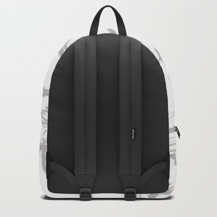 Marble Black and White Grey Gray Marble Swirl Backpack