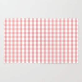 Large Lush Blush Pink and White Gingham Check Rug