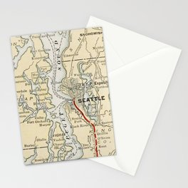 Vintage Map of The Puget Sound (1909) Stationery Cards