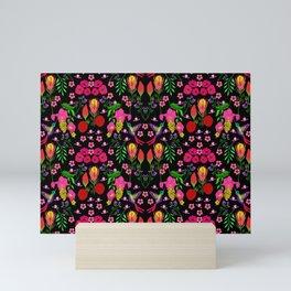 Little Birdies with Florals Mini Art Print