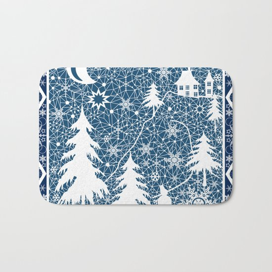 New year's design. Lace fabric . Bath Mat