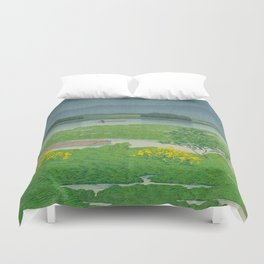 Kawase Hasui Vintage Japanese Woodblock Print Flooded Asian Rice Field Mountain Parallax Landscape Duvet Cover