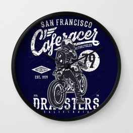 Caferacer Vintage Motorcycle Typography Wall Clock