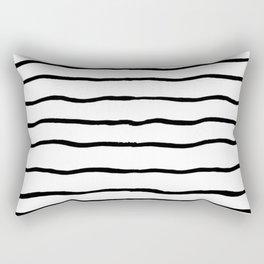 Black white hand painted geometrical stripes Rectangular Pillow