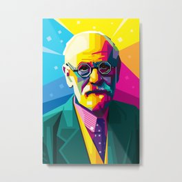 Sigmund Freud Graphic-design Pop Art Portrait Metal Print