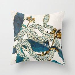 Summer Indigo Garden Throw Pillow